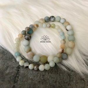 Amazonite Stone Stretch Bracelet Set